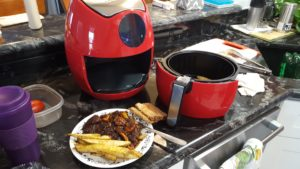 air fryer and meal