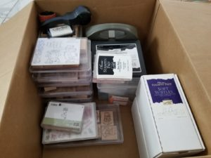box of stamping items