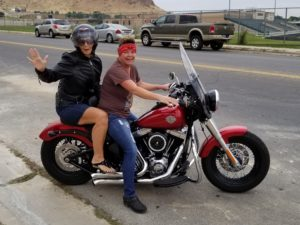 Elaine and Shauna on Harley